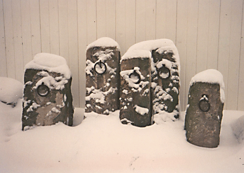 hitching posts in the snow